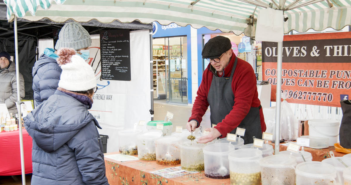 An olive stall at the Farmers Market Epsom
